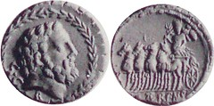 358/1 Juventia Jupiter in wreath Triumphal quadriga in wreath LATERENS Denarius