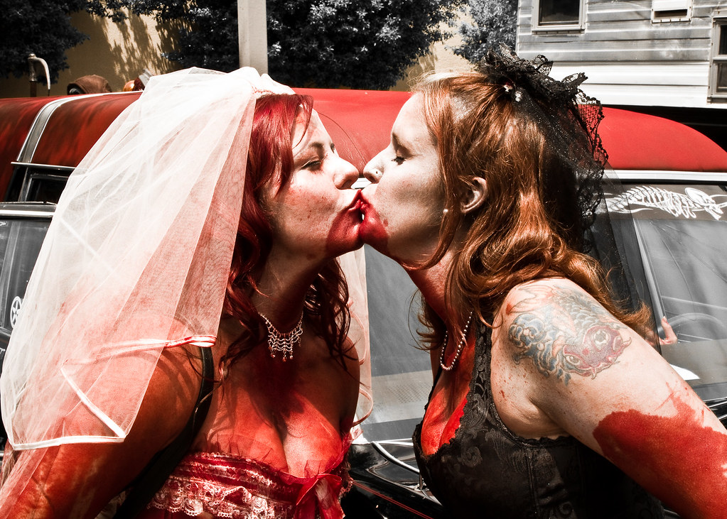 Kissing Zombie Brides (Dark)