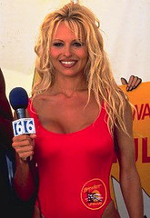 Pamela Anderson, Baywatch, at MTV, 1995.