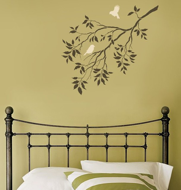 Stencil Design Wall Decor : Reusable wall stencils birds on a branch beautiful