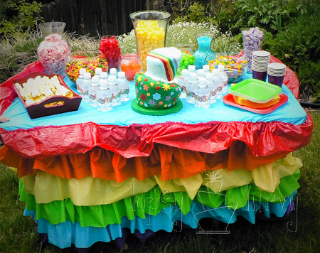 Rainbow garden birthday party ruffles table skirt candy for Food bar rainbow moon