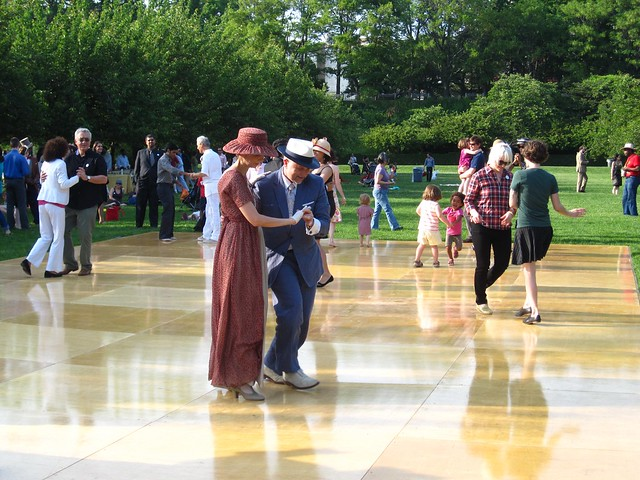 Learning some 1920's dances before the crowd arrives for BBG Members' Centennial Evening. Photo by Rebecca Bullene.