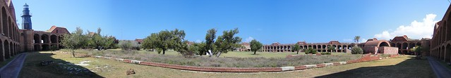 Panoramic view of inside Fort Jefferson grounds, Dry Tortugas National Park