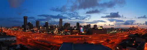 bridge buildings cityscape downtown early hugin neworleans nola panorama sunrise