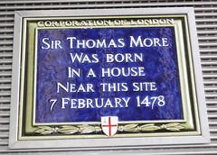Photo of Thomas More blue plaque