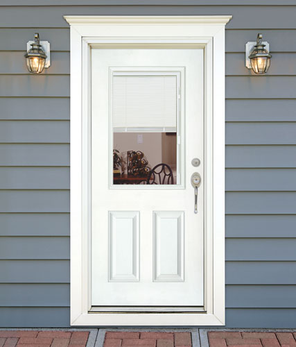 Exterior doors with blinds