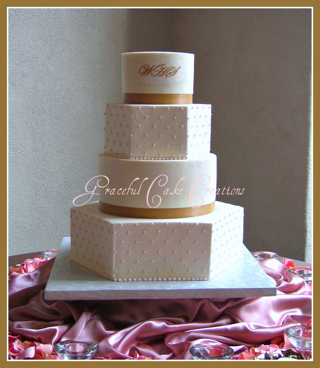 Elegant Ivory and Pink Wedding Cake