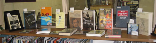 Banned Books Week display in Polley Music Library