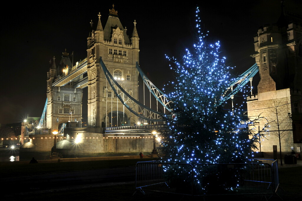 Tower Bridge and Christmas Tree, London