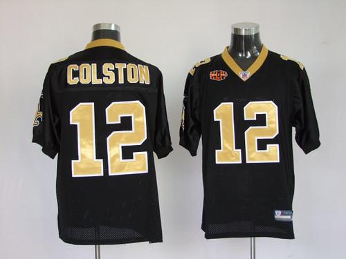 Hot New Orleans Saints #12 Marques Colston black 2010 super bo