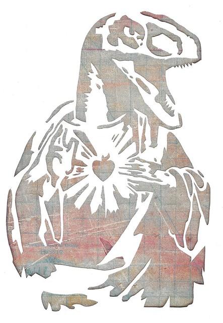 Raptor Jesus Stencil