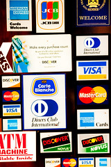 door full of credit card logos