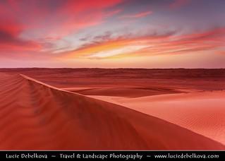 Oman - Pink Sky over Sea of Sand Dunes in Wahiba Sands