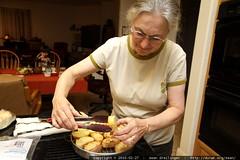 making garlic bread