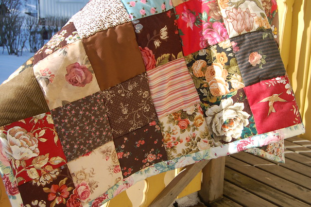 Brown Quilt made from recycled fabrics