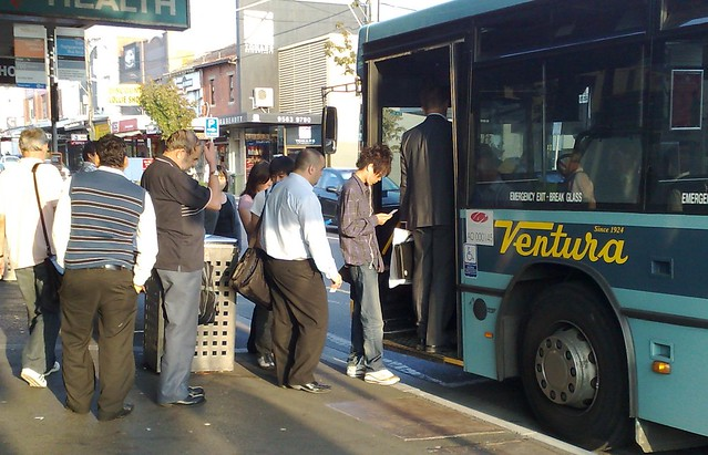 Queueing for the 703 SmartBus at Bentleigh Station