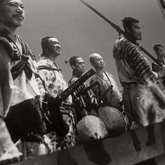 monochrome photography, crew, monochrome, black-and-white, person, troop,