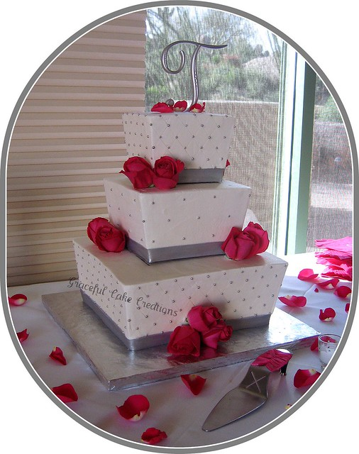 Silver and White Square Wedding cake