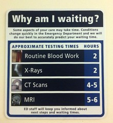 Unintended gallows humor. ER sign listing wait times for various tests.