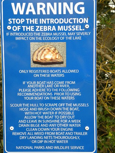 National Parks and Wildlife Services Advices Sign on Boating Requirements and the Zebra Mussel