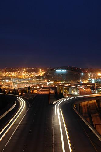 seattle night docks nikond70 lighttrails safecofield washingtonstate sodo