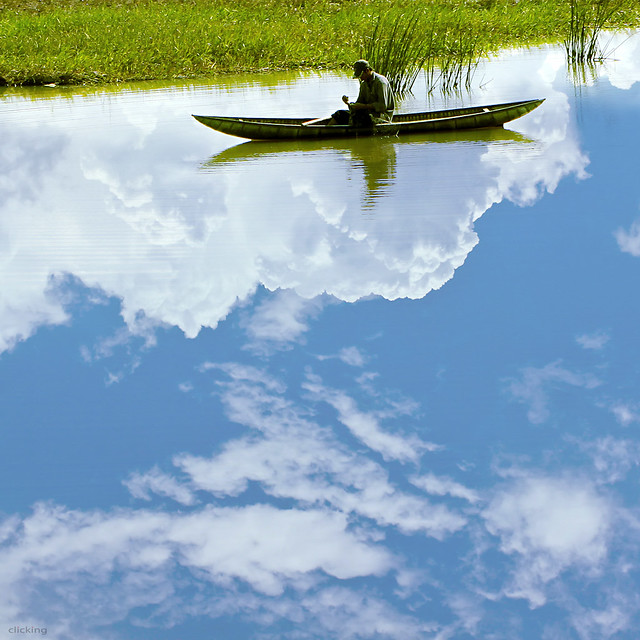 Boat floating on clouds