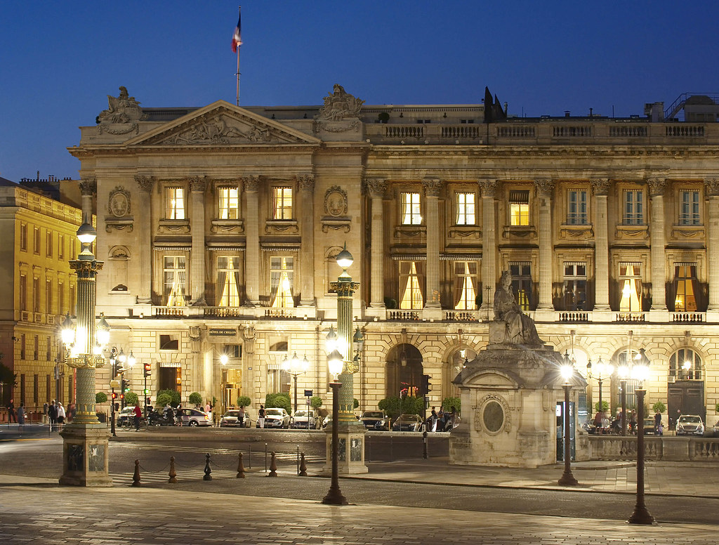 facade by night with sumptuous lights of the majestic h tel de crillon paris in france located. Black Bedroom Furniture Sets. Home Design Ideas