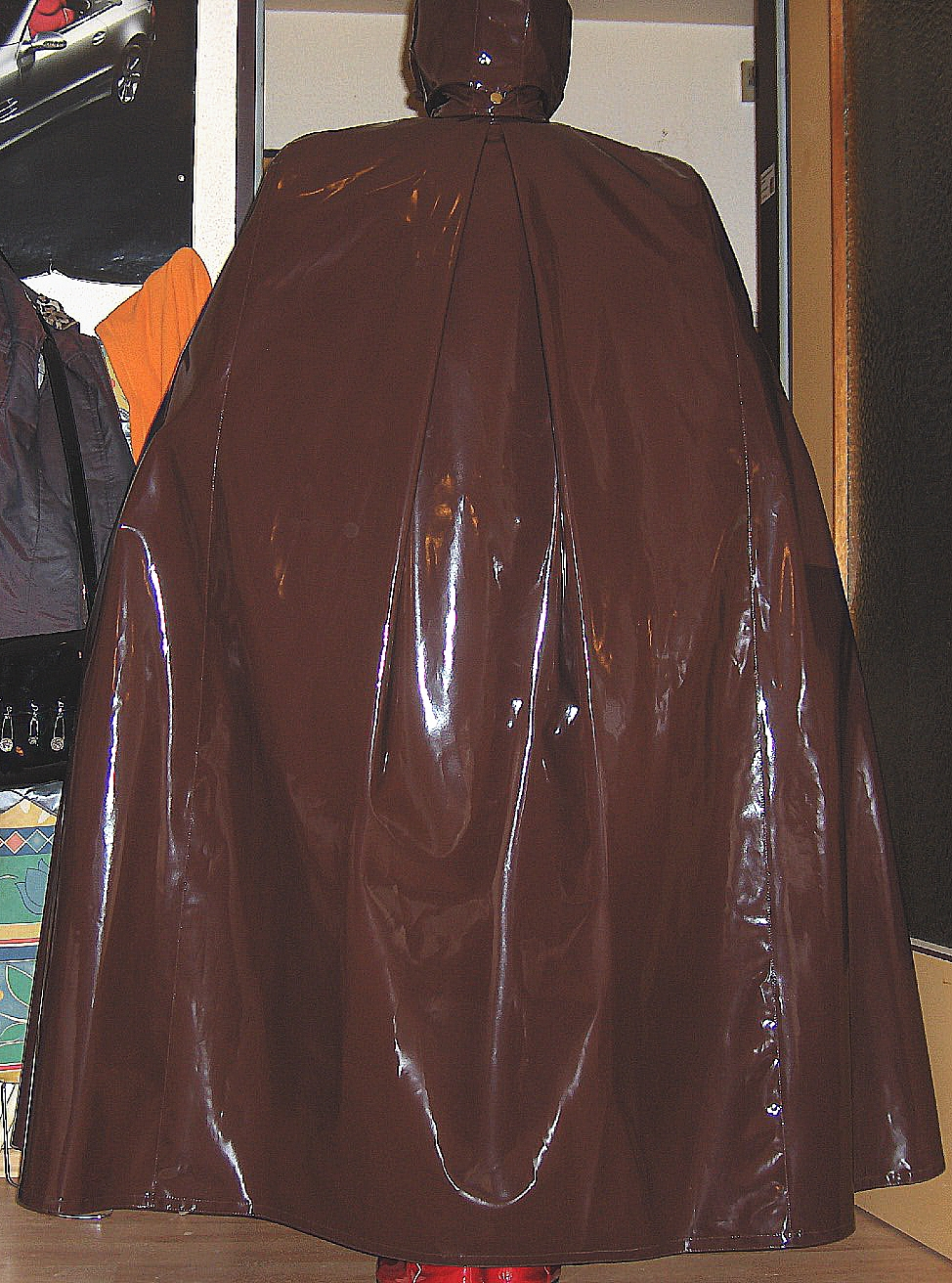 Brown shiny vinyl cape over Latex Outfit | Flickr - Photo Sharing!