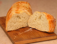 cut loaf fresh bread