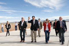 Sir Richard Branson,Go vernor Richardson, Lori Garver and Buzz Aldrin arrive at Spaceport America. Photo by Jeffrey Vock