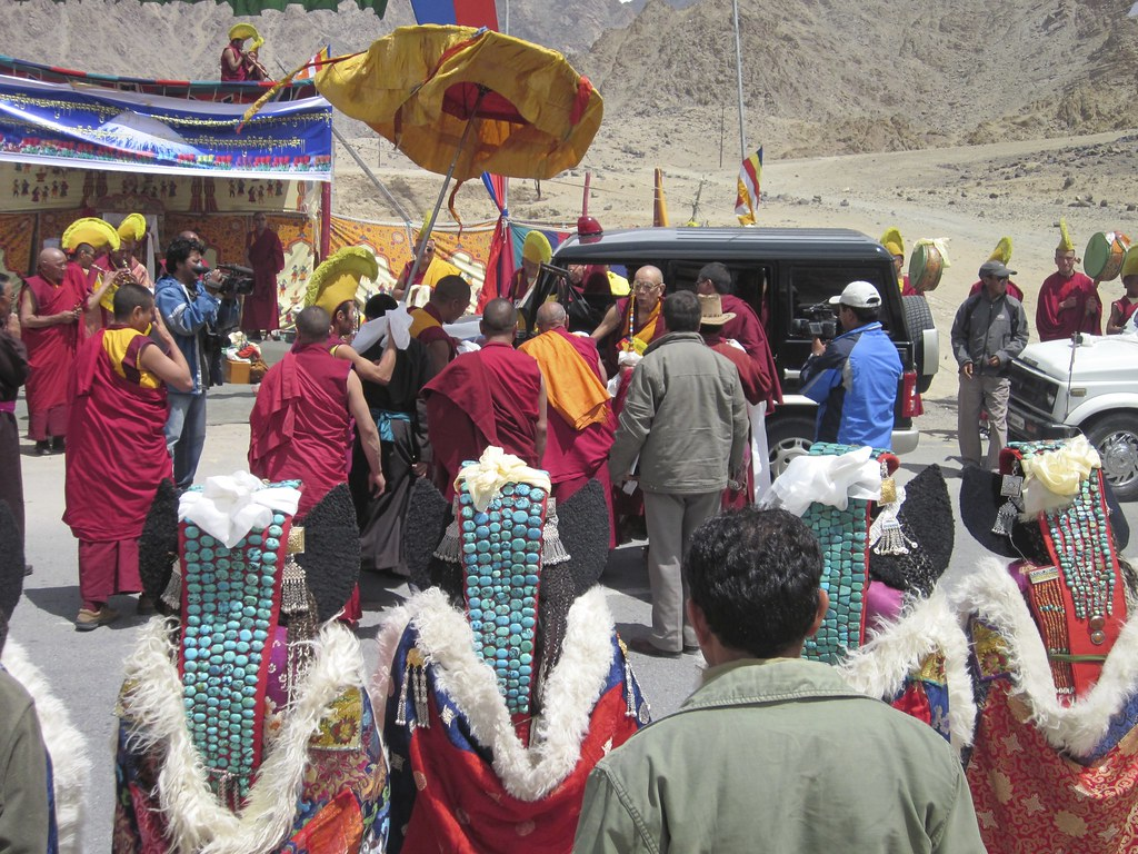 Lama arrives at religious festival, India