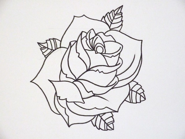 Tattoo Line Drawing Software : Rose outline flickr photo sharing