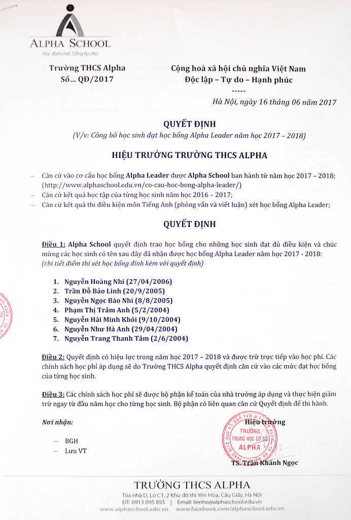 Quyết định học bổng Alpha Leader