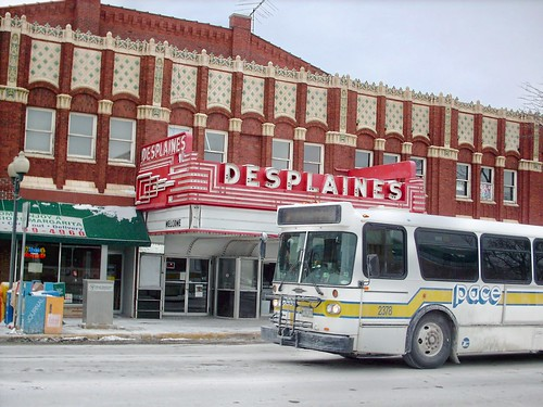 Westbound Pace bus on Miner Street passing the Desplaines Theatre. Desplaines Illinois. February 2008. by Eddie from Chicago