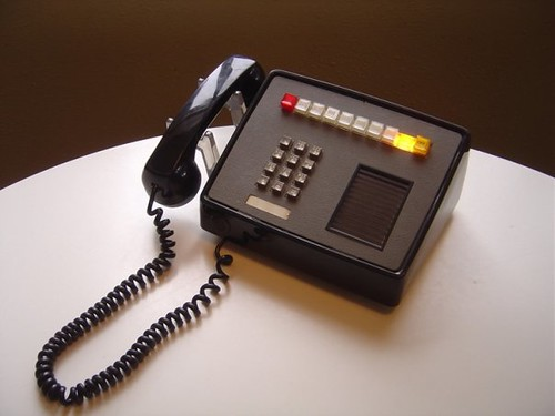 This black, vintage multi-line telephone also has a speake… | Flickr ...
