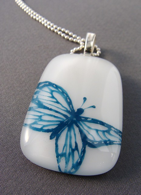 teal butterfly glass pendant