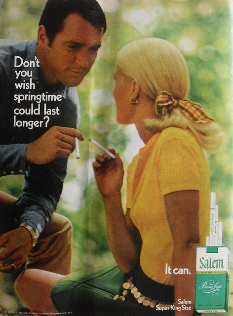 1970 Salem Menthol Cigarettes Vintage Advertisement Man Woman Smoking Tobacco