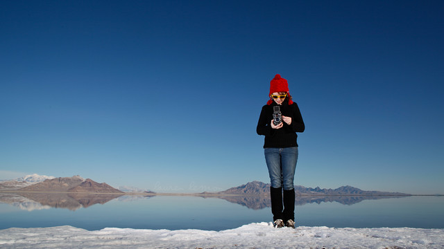 Salt Flats, covered in water and snow.