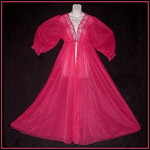 DOUBLE SHEER Chiffon RASPBERRY Punch PINK Vintage Sissy Princess FLOOR LENGTH Peignoir Robe in Size L-XL!