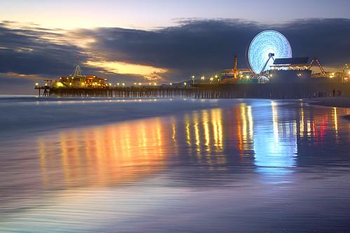 ocean california longexposure travel sunset sea vacation sky usa seascape beach rock sunrise canon landscape pier losangeles sand santamonica wave 5d mkii ostrellina 5dmkii