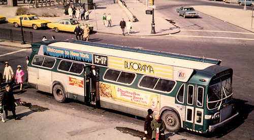 "New York City Transit Authority 1960's era GMC ""New Look"" Fishbowl windshield bus with ""Bat Wing"" advertising panels tnear the roof. New York City. by Eddie from Chicago"