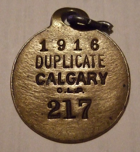 CALGARY, ALBERTA 1916 ---DUPLICATE DOG LICENSE #217