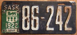 SASKATCHEWAN 1922 ---EMBOSSED LATE ISSUE PASSENGER BASEPLATE
