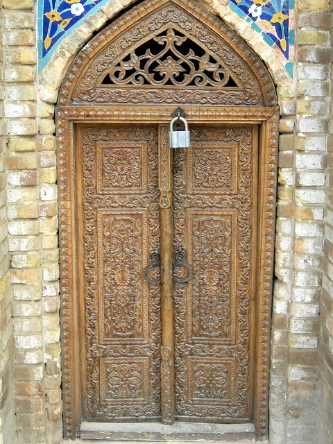 Carved wooden doors on old mosque samarkand flickr