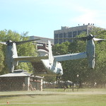 Marine Week Boston, 2010: Bell-Boeing MV-22B Osprey tilt-rotor aircraft taking off from Boston Common