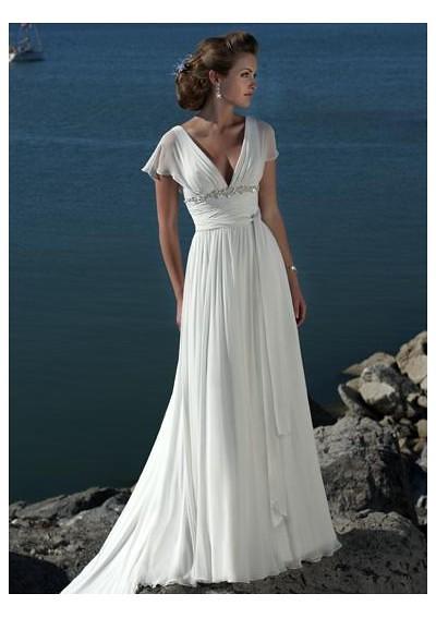 Chiffon sexy deep v neck style with empire waist slim a for Empire waist beach wedding dress