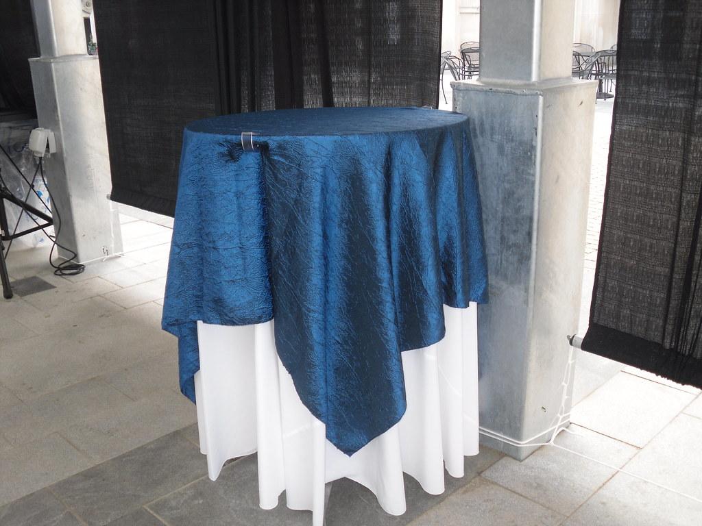 Navy crinkle taffeta table cloth