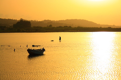 sunset sea summer orange color art beach yellow boat fisherman greece corfu mygearandme