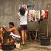 Memandikan anak. : Mothers bathe their children. Photo by Aditya