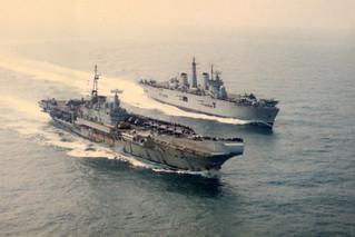HMS Illustrious steams past HMS Hermes, 20/07/1982